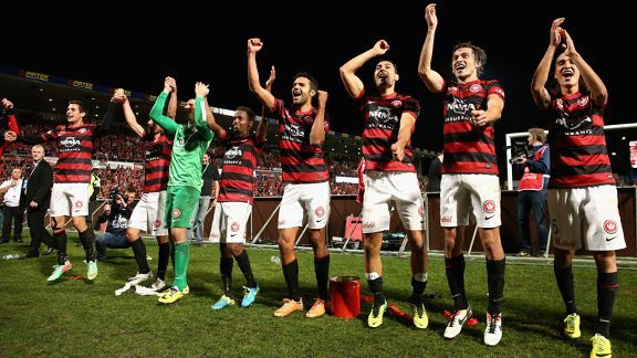 Western Sydney Wanderers celebrate their victory over Central Coast Mariners.