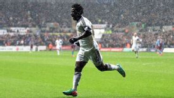 Wilfried Bony celebrates after giving Swansea an early lead against Aston Villa.