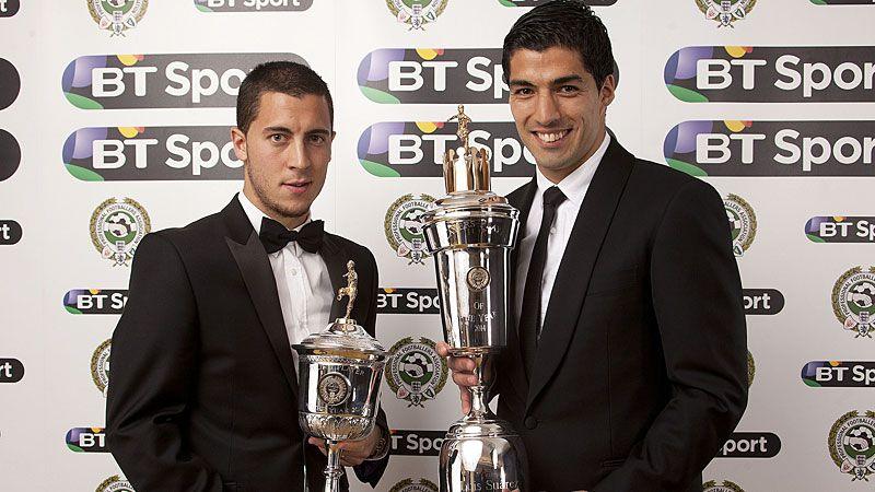 Eden Hazard and Luis Suarez pose with their PFA awards on Sunday evening.