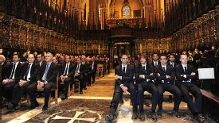 Barcelona players at the funeral of Tito Vilanova.