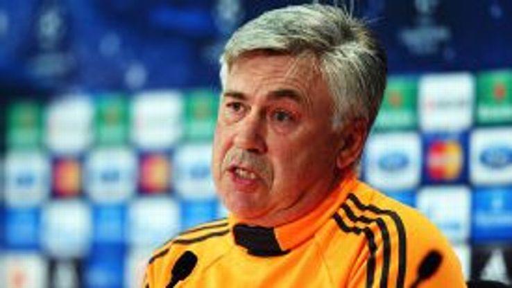 Carlo Ancelotti faces the press.