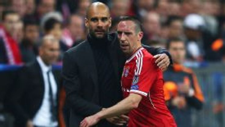 Pep Guardiola consoles Franck Ribery after the Frenchman was substituted.