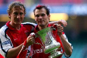Ray Parlour and Freddie Ljungberg celebrate winning the 2002 FA Cup final.