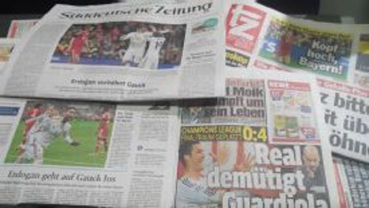 The German press was critical of Pep Guardiola after Bayern's historic defeat.