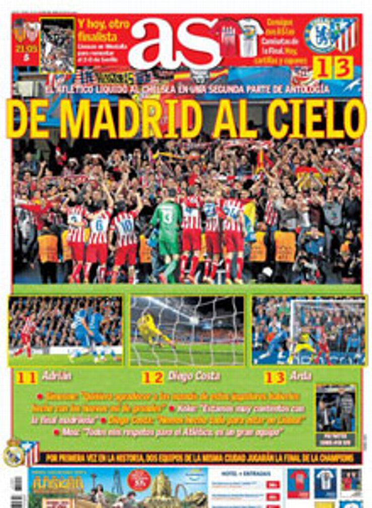 AS' front cover celebrated Atletico's achievement.