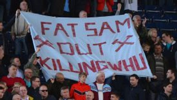 Some West Ham fans made their feelings known at The Hawthorns.