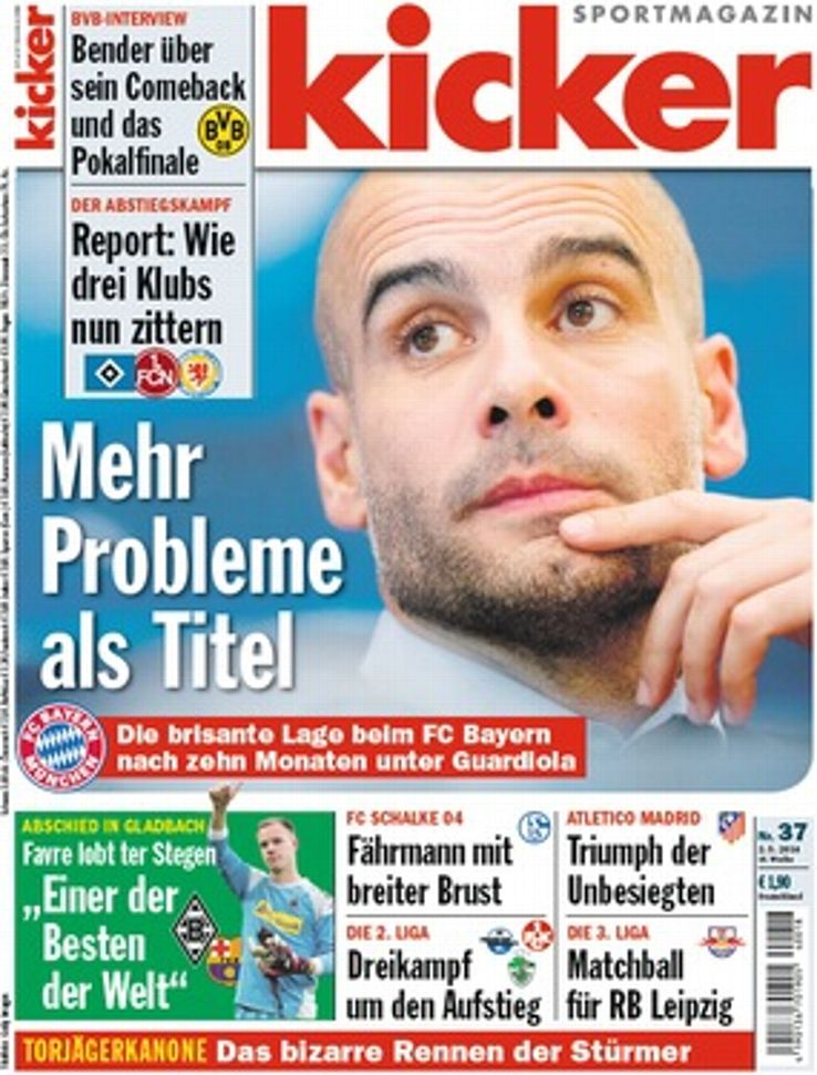 German magazine kicker has been highly critical of Guardiola's tenure at Bayern.