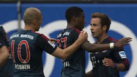 Mario Goetze celebrates his goal for Bayern Munich.
