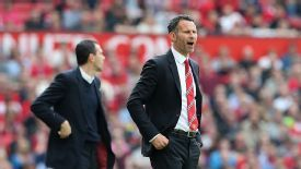 Ryan Giggs shows his frustration on the sidelines.