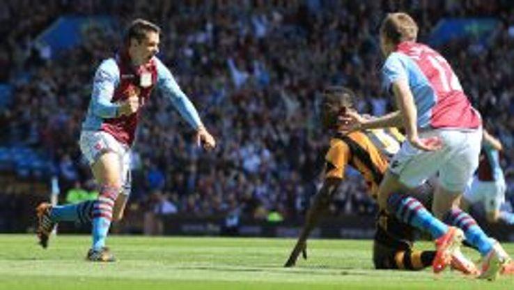 Aston Villa's Ashley Westwood celebrates scoring the opening goal of the game