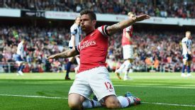 Olivier Giroud celebrates opening the scoring for Arsenal against West Brom.