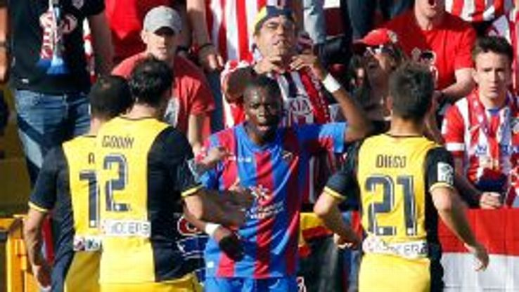 Pape Diop was surrounded by Atletico players who thought he was gloating over the win.