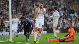 Alvaro Morata shows his frustration after missing a chance against Valencia.