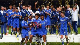 Chelsea celebrate their dramatic FA Youth Cup win.