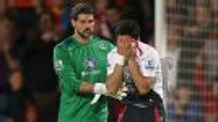 Julian Speroni tries to console a crying Luis Suarez.