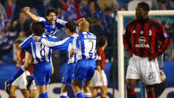 Deportivo staged a dramatic fightback to claim a 5-4 on aggregate win over AC Milan in 2004.