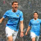 Edin Dzeko helped City reach the 100-goal mark for the season vs. Villa.