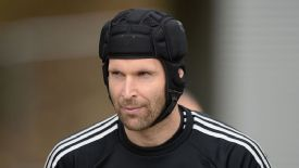 Petr Cech made an appearance at training ahead of the second leg against Atletico Madrid.