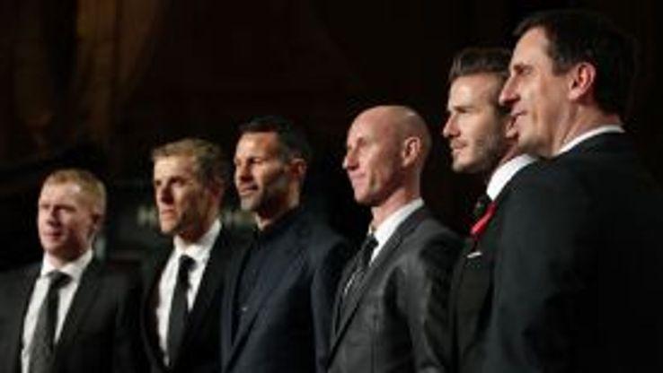Paul Scholes, Phil Neville, Ryan Giggs, Nicky Butt, David Beckham and Gary Neville attend the