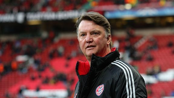 Louis van Gaal, pictured here at Old Trafford with Bayern Munich in 2010, could be confirmed as Man Utd's new manager soon.