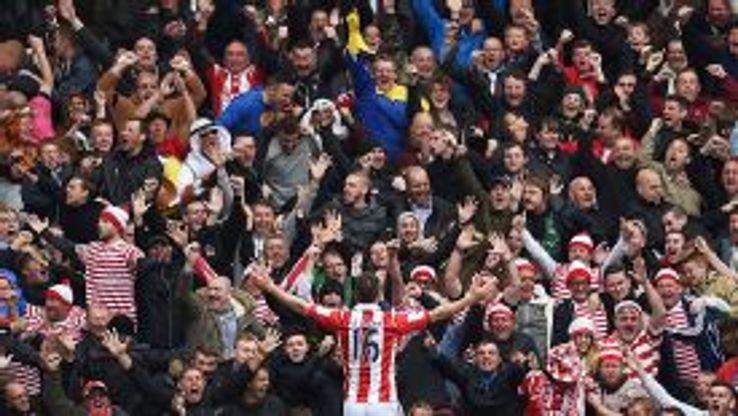 Charlie Adam celebrates in front of the Stoke fans after scoring the winner at West Brom.