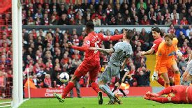 Daniel Sturridge has a simple tap-in to give Liverpool all three points against Newcastle.