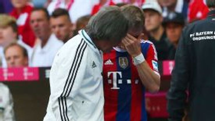 Bastian Schweinsteiger leaves Bayern Munich's victory against Stuttgart through injury.