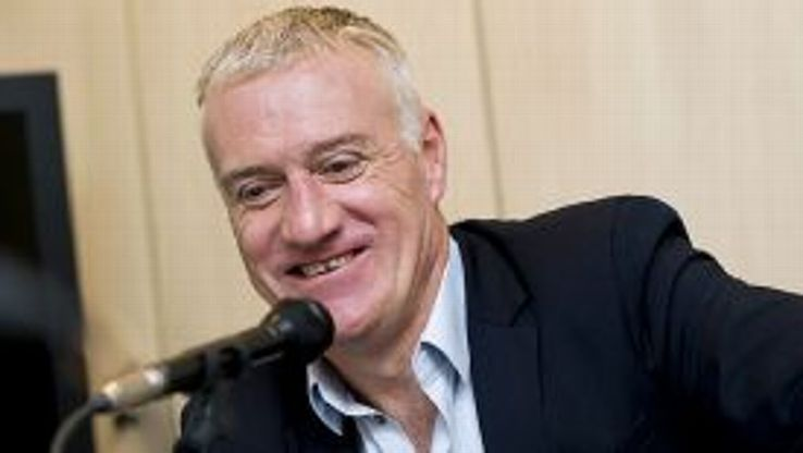 Didier Deschamps faces the press.