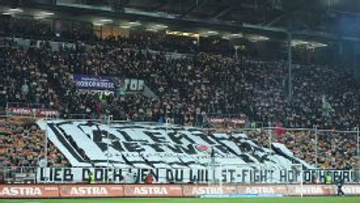 St Pauli fans protest against homophobia during a game against SC Paderborn 07 last season.