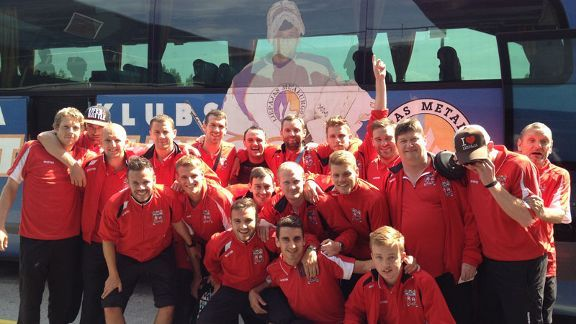 Prestatyn's players and coaching staff in Latvia on their European adventure.