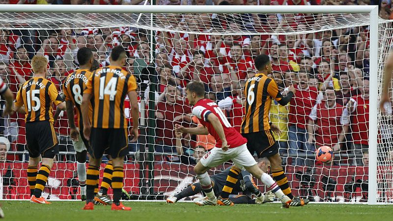 Aaron Ramsey scored Arsenal's crucial third goal against Hull City at Wembley.