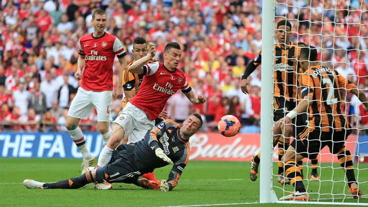 Laurent Koscielny levelled for Arsenal against Hull in the FA Cup final.
