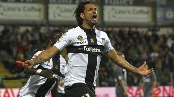 Amauri's brace sent Parma into the Europa League.