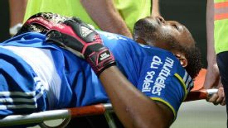 Steve Mandanda was forced off after injuring his neck against Guingamp in Marseille's final game of the season.