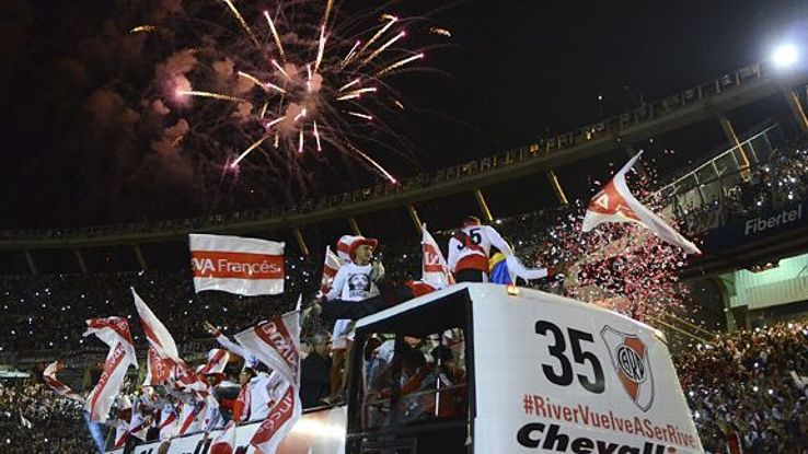Joyous scenes as River Plate players go around their Monumental ground in an open-top bus to celebrate.