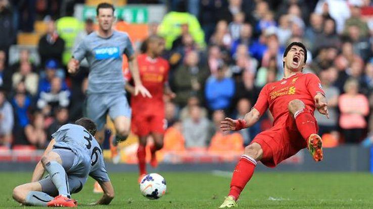 Paul Dummett was sent off for his challenge on Luis Suarez on the final day of the Premier League season.