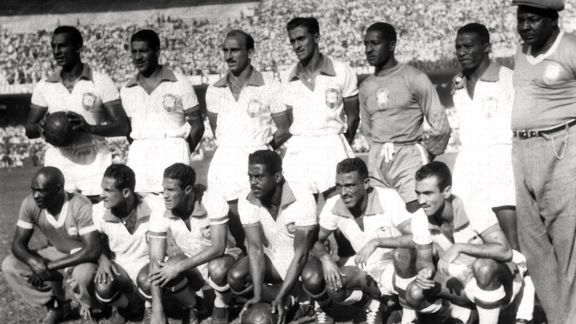 Brazil's players pose for a team photograph before their 4-0 first round win vs. Mexico.