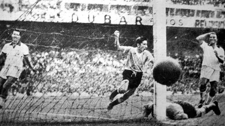 Uruguayan Alcides Ghiggia scores the winner during the World Cup Final against Brazil in 1950.