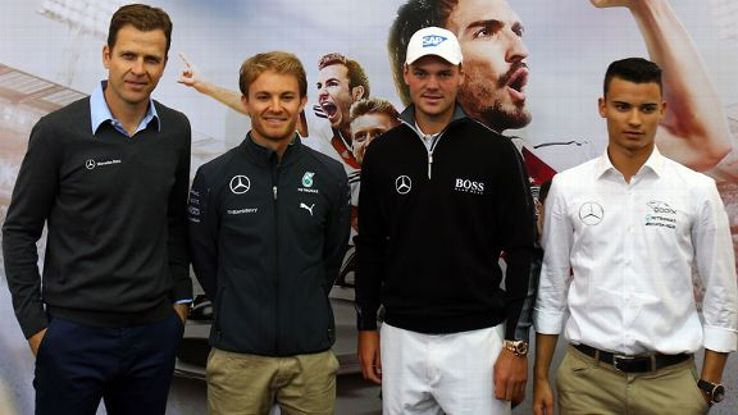 Oliver Bierhoff, Nico Rosberg, Martin Kaymer and Pascal Wehrlein photographed during a Germany news conference.