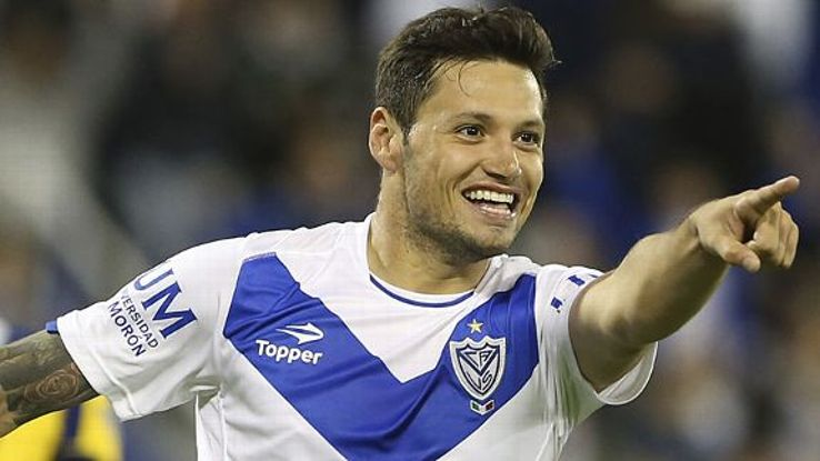 Mauro Zarate celebrates a goal for Velez last month.