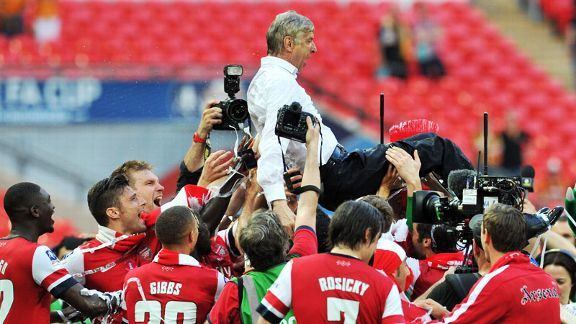 Arsene Wenger ended Arsenal's nine-year wait for a trophy as they lifted the FA Cup in 2014.
