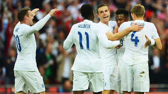 England celebrate Daniel Sturridge's goal against Peru.