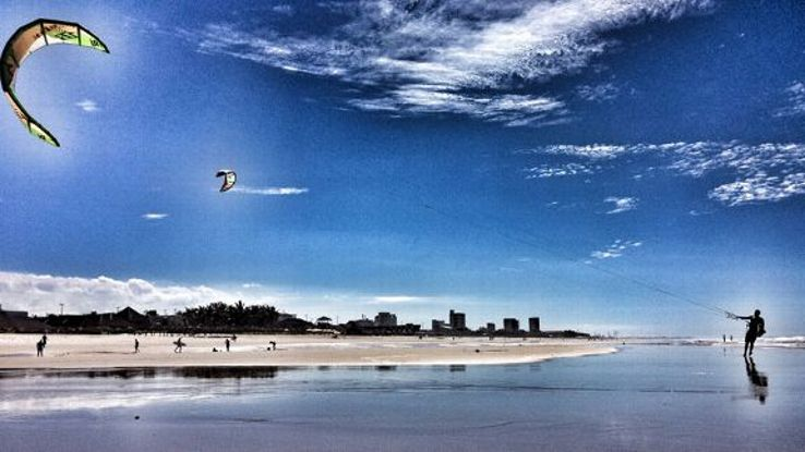 Kite-surfing is a popular pastime in Fortaleza.