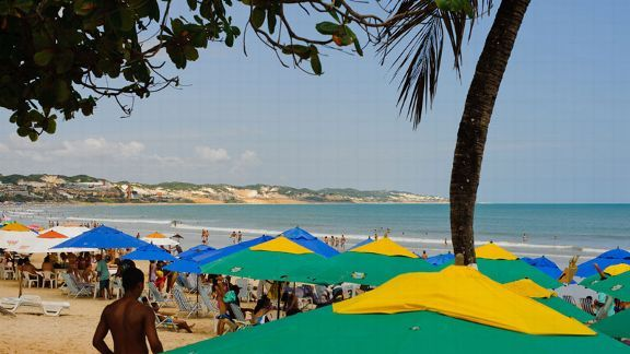 Ponta Negra beach is a popular destination in Natal, with visitors not short of food and drink options.