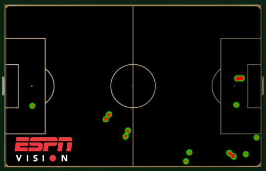 Touch map showing Marouane Fellaini's involvement for Belgium against Algeria.