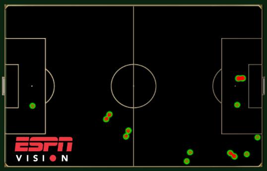Touch map showing Marouane Fellaini's involvement for Belgium against Algeria.