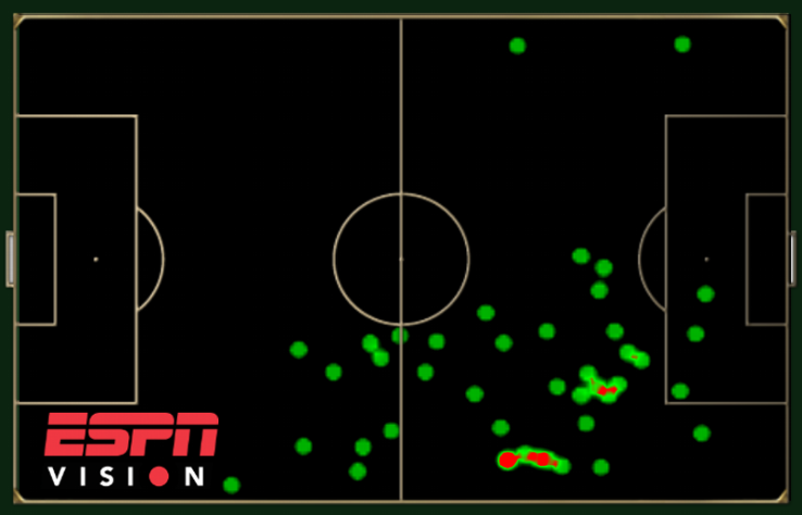 Touch map showing Mesut Ozil's involvement for Germany against Portugal.