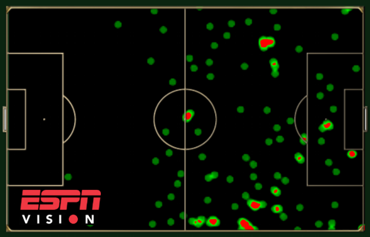 Heat map showing Arjen Robben's touches during the 2014 World Cup group stage.