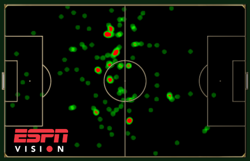 Heat map showing Nigel de Jong's touches for Netherlands during the group phase.