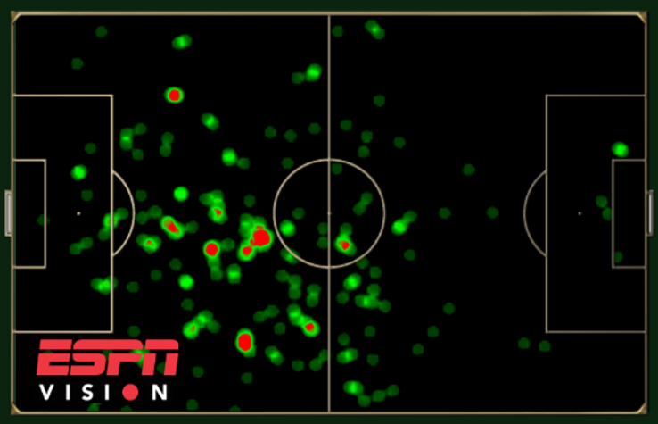 Heat Map showing Rafael Marquez's touches so far during the 2014 World Cup.